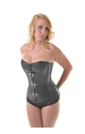 Vixen Black Leather Overbust  Corset **